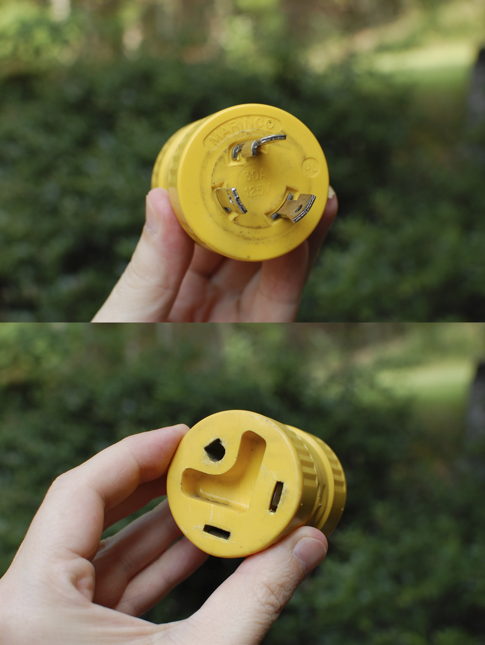 "The RV plug goes into to the ""female"" side of this adapter plug, and the ""male"" side goes into the generator."