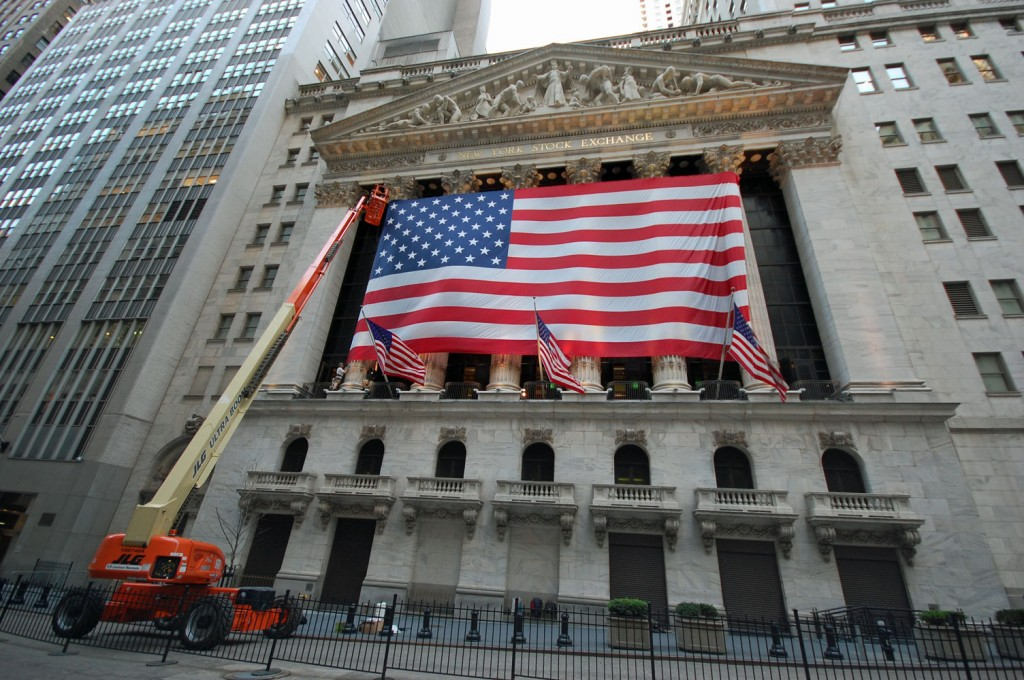Decking out the NYSE with Old Glory.