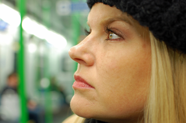 Kristy on the London Underground (not a political movement!).