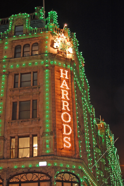 Harrod's is a London shopping institution. It's kind of like Macy's, but more...of everything.