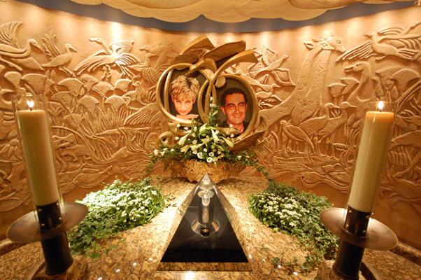 Harrod's is owned by the guy whose son was dating Diana. Here's a memorial to the two.