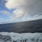 More rainbows, & waves kicking away from the ship.
