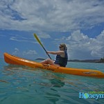 Kristy loves to kayak. At Frenchman's Reef, kayaking is one of the included free activities for resort guests. If you are feeling ambitious, you can pay for clear kayaks.