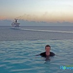 "Relaxing in the ""adult infinity pool"" at Frenchman's Reef."