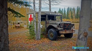 "Automotive relics along the Alaska Highway in the Yukon (at White River ""Yukon Discovery"" RV Park)."