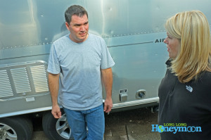 "Kristy chats with Vinnie ""the Airstream Whisperer"" Lamica."