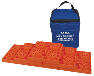 The Lynx Levelers kit includes 10 interlocking leveling blocks and a handy carrying case.