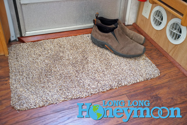 Here's our Clean Step doormat (and my Merrill JungleMoc shoes) inside our Airstream. (Click the pic for more info.)