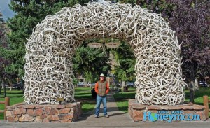 In downtown Jackson is a central park. By law, everyone must stop to pose for a photo under an elk antler arch.