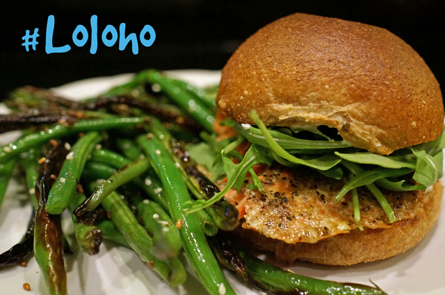 ... product: Caper Mayo Salmon Burgers and Sesame Sautéed Green Beans