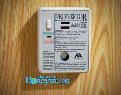 This is the LP gas detector installed in our Airstream. Since it's over 10 years old, we'll probably add one of the Kidde duel smoke / CO detectors to supplement this unit. (Click the pic to see the Kidde unit.)